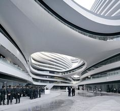 Image 15 of 34 from gallery of Galaxy Soho / Zaha Hadid Architects by Hufton + Crow. Photograph by Hufton+Crow Innovative Architecture, Architecture Awards, Chinese Architecture, Futuristic Architecture, Amazing Architecture, Contemporary Architecture, Art And Architecture, Pavilion Architecture, Minimalist Architecture