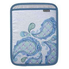 Bluish Paisley Pattern Sleeve For iPads - patterns pattern special unique design gift idea diy