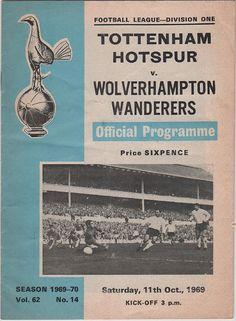 Vintage Football (soccer) Programme - Tottenham Hotspur v Wolverhampton Wanderers, 1969/70 season.