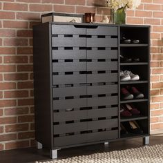Featuring modern and contemporary design, this fantastic shoe cabinet with open shelves combines storage with style. The shoe cabinet is complemented by two of its slatted doors for a sleek appearance. Constructed of engineered wood, the shoe cabin Closet Shoe Storage, Shoe Storage Cabinet, Locker Storage, Shoe Racks, Dvd Storage, Storage Shelving, Storage Rack, Shoe Cabinet Design, Entryway Cabinet