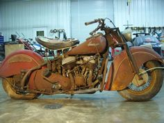 Vintage Motorcycles Classic Bonny Barn Find: 1947 Indian Chief Bonneville - Learn more about Bonny Barn Find: 1947 Indian Chief Bonneville on Bring a Trailer, the home of the best vintage and classic cars online. Motos Vintage, Vintage Indian Motorcycles, Antique Motorcycles, Triumph Motorcycles, Vintage Bikes, Cars And Motorcycles, Vintage Cars, Vintage Cycles, Ducati