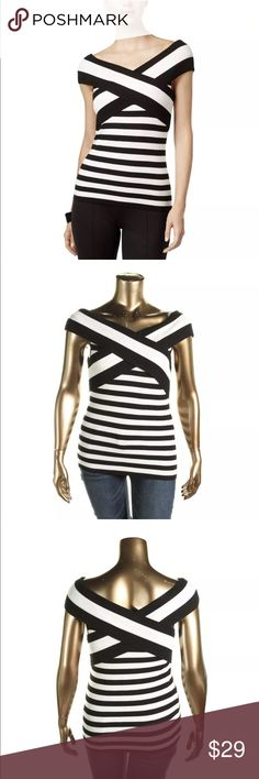 Inc B/W Ribbed Knit Striped Pullover Sweater XL Inc B/W Ribbed Knit Striped Pullover Sweater XL inc Sweaters