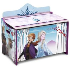 Keep your child's toys organized with the Delta Children Disney Frozen II Deluxe Toy Box. Adorned with colorful graphics of Anna, Elsa, Kristoff, and Sven, this sturdy wood toy box showcases everyone's favorite Frozen characters. Disney Frozen Bedroom, Frozen Room, Disney Frozen 2, Frozen Girls Bedroom, Game Organization, Organizing, Frozen Characters, Delta Children, Toy Storage