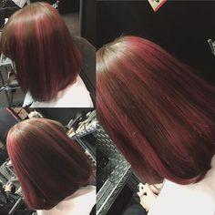WEBSTA @ ningentaberu - お客様style~✩✩ 赤みのあるブラウンをベースにピンクのメッシュを太めにランダムで配色しました!#派手髪#ピンクメッシュ#hair#hairstyle #haircolor #hairstylist #hairwork#hairart#manicpanic #マニパニ#人間喰的style #みのりんstyle