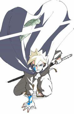 `Slash`, boruto uzumaki ( not my drawing ) Sarada E Boruto, Naruto Fan Art, Naruto Sasuke Sakura, Naruto Shippuden Anime, Itachi Uchiha, Baruto Manga, Chibi, Boruto Characters, Anime Character Drawing