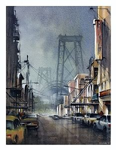williamsburg bridge by Thomas W. Schaller Watercolor ~ 14 inches x 11 inches