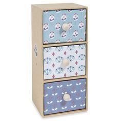 Boîte 3 tiroirs en carton bleu H 18 cm CAPRI