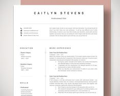 Professional Resume Template Free Cover Letter Template, Cv Template, Modern Resume Templates, Simple Resume Template Mac Pages and Ms Word