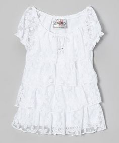 Look what I found on #zulily! White Lace Tiered Ruffle Top - Girls by Beautees #zulilyfinds