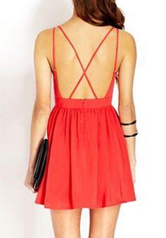 Red Crisscross Cutout Back - Sexy Cutout Back Dress