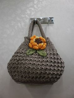 ... Crochet women bag fashion handbag tote durable yellow flower bag www.etsy.com
