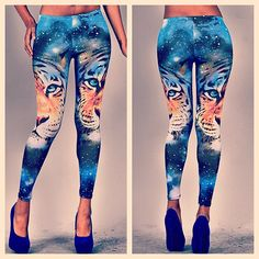 Tiger Galaxy Leggings: Roar up the galaxy in these tiger leggings that live among the stars. Pair these leggings with a white top and royal blue stilettos.