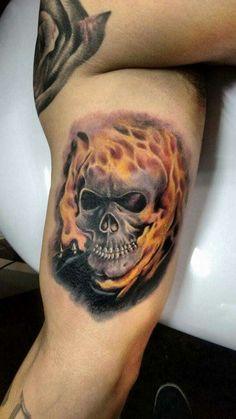 Ghost rider tattoo Ghost Rider Tattoo, Tatting, Piercings, Dan, Skull, Inspirational, Peircings, Piercing, Bobbin Lace
