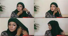 cara memakai jilbab segi empat simple