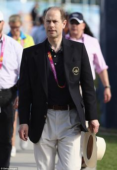 Prince Edward, 54, looked in good spirits as he attended day seven of the Gold Coast 2018 Commonwealth Games on Wednesday