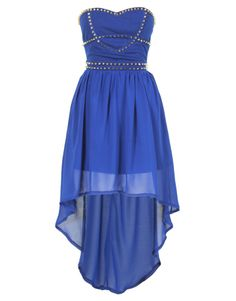 Royal Blue Studded Strapless Chiffon Dipped Hem Dress