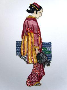 """Japonaise, modèle issu de la revue """"la dentelle"""" hors série de mai 1995. en coton cocon de calais. Interprétation de Victoria Gervier"""
