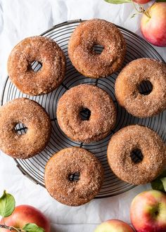 Homemade Baked Donuts, Baked Donut Recipes, Apple Recipes, Apple Desserts, Cinnamon Donuts, Apple Cider Donuts, Doughnuts, Baking With Applesauce, Applesauce Recipes