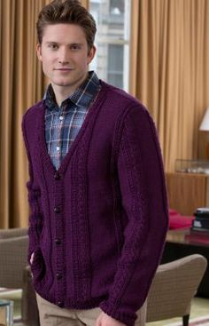 Men's V-Neck Cable Cardigan Free Knitting Pattern from Red Heart Yarns