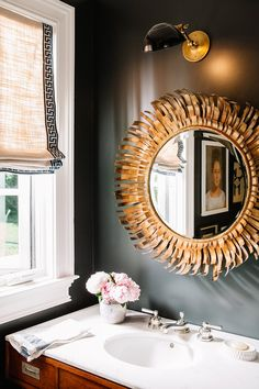 Black #powderroom | Design: Pencil & Paper Co. | Photography: Leslee Mitchell | Featured: One Kings Lane