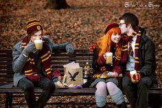 """""""Harry Potter"""" (J.K. Rowling) - James Potter, Lily Evans and Remus Lupin, Holiday in the Hogsmeade. © Liltale calo a lomino 