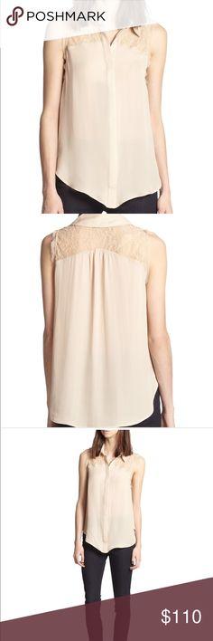 Haute Hippie silk top Haute Hippie silk lace yolk sleeveless blouse! Semi sheer. Haute Hippie Tops Blouses