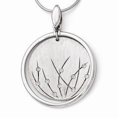 Leslie's Sterling Silver Polished and Brushed Crystal Pendant  / #QLF434 / See MATCHING Earrings (#QLE459) Call Andrew Gallagher Jewelers at 302-368-3380 for Pricing Information