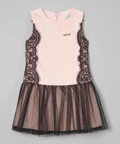 Look what I found on #zulily! Pink & Black Lace Tulle Drop-Waist Dress - Toddler & Girls by Richie House #zulilyfinds