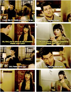 """Cece and Schmidt, New Girl """"I bet he said something chauvinistic that comes from insecurity but ultimately leads to something endearing. New Girl Quotes, Tv Quotes, Movies Showing, Movies And Tv Shows, Nick And Jess, Collateral Beauty, Jessica Day, Nick Miller, Book Tv"""