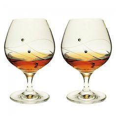 Engraved Glitz Brandy/Liqueur Glasses Pair - Dartington Crystal