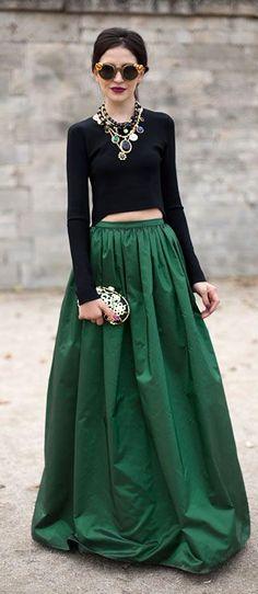 Chic glasses ♥ Long Emerald Skirt