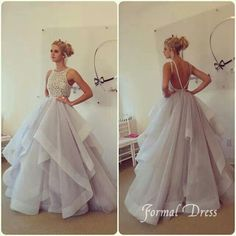 Formal Gowns 2015 Hot Sale Ball Gowns Wedding Dresses High Neck Tiered Beaded Tulle Cheap Bridal Gowns With Open Back Off The Shoulder Dresses From Nicedressonline, $234.98| Dhgate.Com