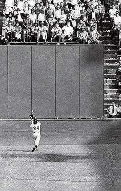"Legendary baseball player Willie Mays executes one of the most iconic catches in MLB history with ""The Catch"" during the 1954 World Series. Dodgers, But Football, Olympic Football, Mlb, San Francisco Giants Baseball, Polo Grounds, Willie Mays, America's Pastime, Baseball Photos"