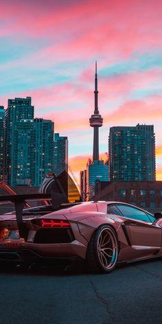 Cityscape, Lamborghini Aventador, sports car, 1080x2160 wallpaper