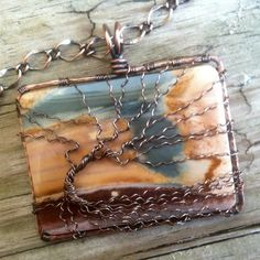 Extra Large Landscape Polychrome Antique Copper Wire Wrapped Bare Winter Tree of Life Pendant Handcrafted by Ann White.  This part of my Extra Large Collection.  This pendant is 2 1/4 inches tall and