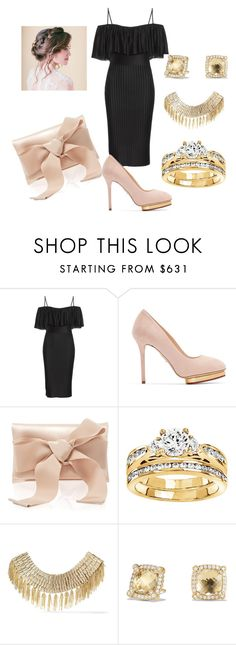 """""""Wedding guest"""" by facummings ❤ liked on Polyvore featuring Givenchy, Charlotte Olympia, Oscar de la Renta, Modern Bride, Rosantica and David Yurman"""