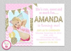 Pink Gold Chevron 1st Birthday Invitation  by TheTrendyButterfly