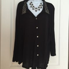 Plus Black Studded Long Sleeve admit Shirt 3X Cute and stretchy.   Never worn Julie's Closet Tops