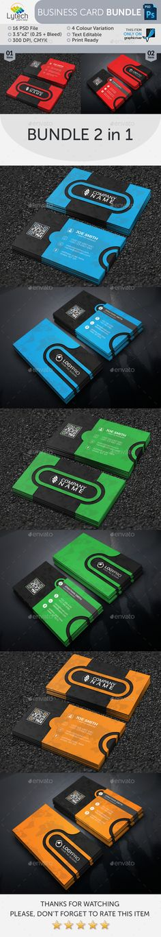 Corporate Business Card Bundle (2 in 1) — Photoshop PSD #standard #green. red • Available here → https://graphicriver.net/item/corporate-business-card-bundle-2-in-1/16409879?ref=pxcr