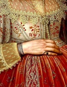 Portrait of a Woman in Red (detail), Marcus Gheeraerts