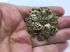 Vintage LC Amber & Clear Colored Rhinestones Flower Brooch Pin Gold Tone #LizClaiborne #Vintage