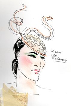 created by me - Gwen Coppari Hat design - ink and pastels Fashion Illustrations, Pastels, Ink, My Favorite Things, Create, Drawings, My Style, Hats, Design