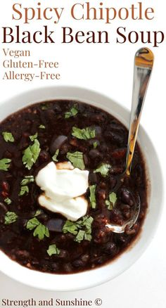 This Spicy Chipotle Black Bean Soup recipe is vegan, gluten-free, & allergy-free! Super quick and easy vegetarian soup using canned black beans & chilies. Vegetarian Soup, Vegan Soup, Vegetarian Recipes, Gluten Free Soup, Dairy Free, Chipotle Black Beans, Spicy Soup, Bean Soup Recipes, Black Bean Soup
