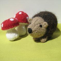 Kensington Hedgehog and toadstools toy or pincushion knitting pattern pdf