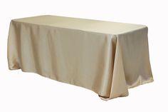 "90""x156"" Rectangular Satin Tablecloth - Champagne"