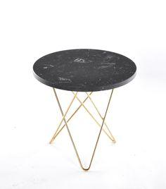 Mini O Table Black Marquina, brass