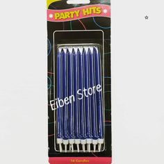 Party Candles - Blue w/ Holders Long - Order : WA / Chatt / Komen.