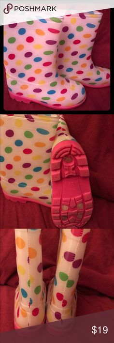 Child's rain boots 🌈 Waterproof Girls very popular and fun rain slickers great for all outdoor weather hardly used in great condition super cute multiple colored polkadots pink bottoms US size 2 European size 32 Shoes Rain & Snow Boots