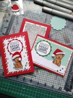 Christmas cards using Avery Elle Furry Friends stamp and die set.  Lawn Fawn stitched Hillside borders and Stampin Up papers and stamps.