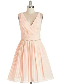 Peach and Every Guest Dress - Pink, Solid, Pearls, Pleats, Rhinestones, Special Occasion, Prom, Wedding, Bridesmaid, Fit & Flare, Sleeveless...